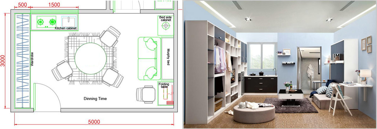 Murphy bed wardrobe with kitchen cabinet for india customer