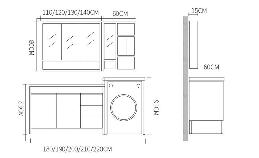 Space saving waterproof bathroom vanity with washing machine cabinet