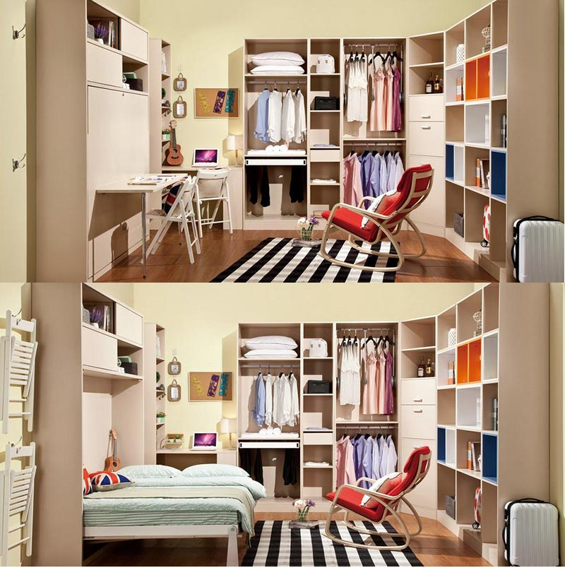 One murphy bed with one wardrobe design for canada