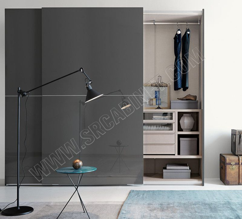 Modern design bedroom furniture high gloss sliding door wooden wardrobe closets