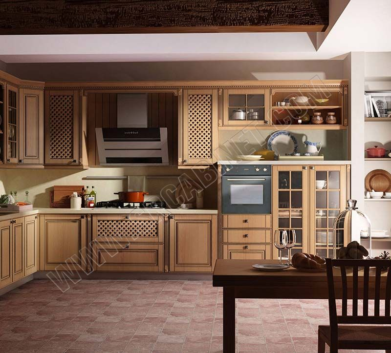 Classic oak raised door style European design kitchen cabinet