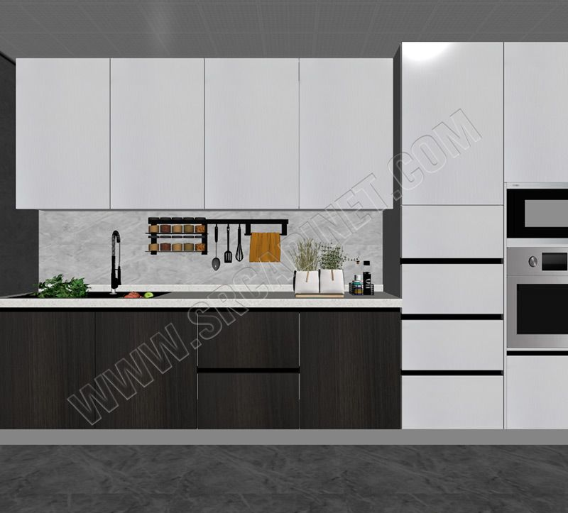 White and wood grain handless matt lacquer color kitchen cabinet