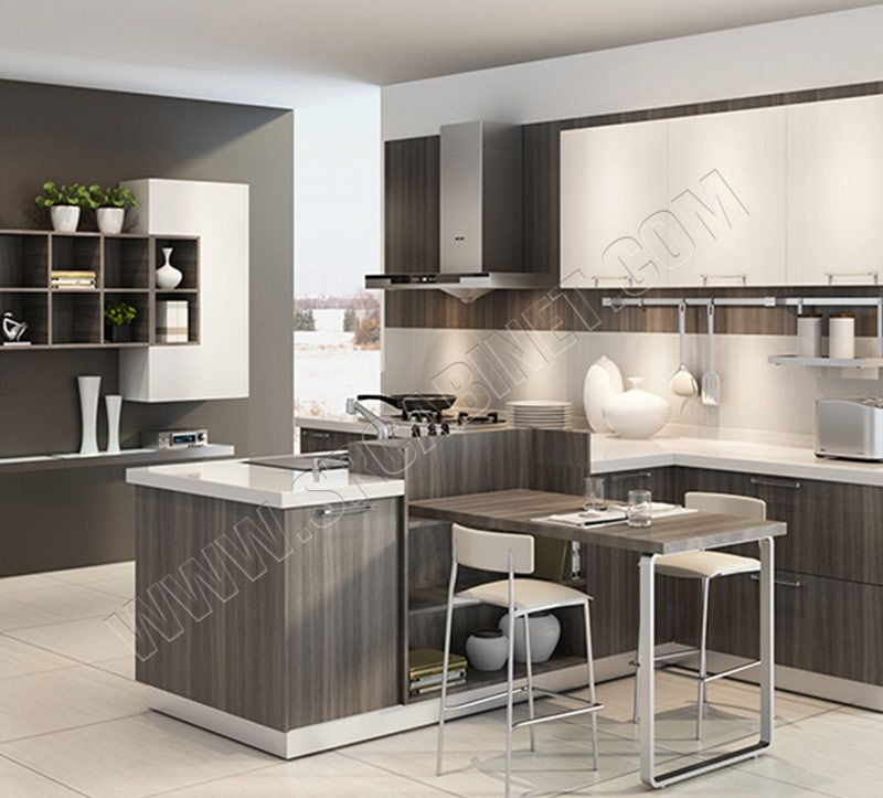 Apartment modern design melamine kitchen cabinet with quartz