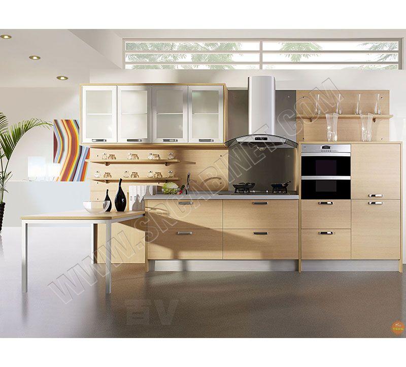Apartment modern design melamine kitchen cabinet with quartz