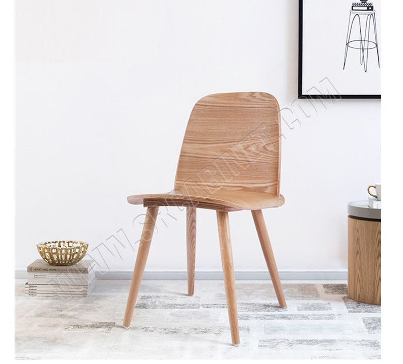China Factory High Quality Customized Wooden Dining Chair Restaurant Bent Ergonomic Wood Chair With Ash Veneer