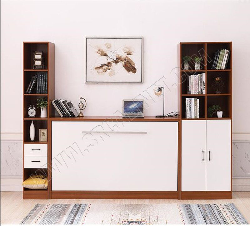 Easy assemble modern murphy bed with gas strut and desk mechanism