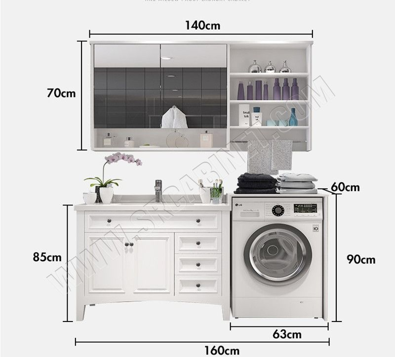 Space saving waterproof bathroom vanity with washing machine cabinet