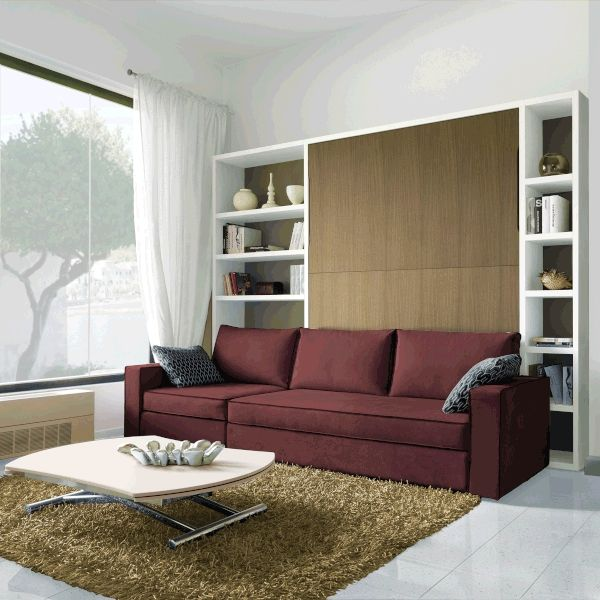 Sofa bed Smart furniture wood vertical murphy folding sofa wall bed set