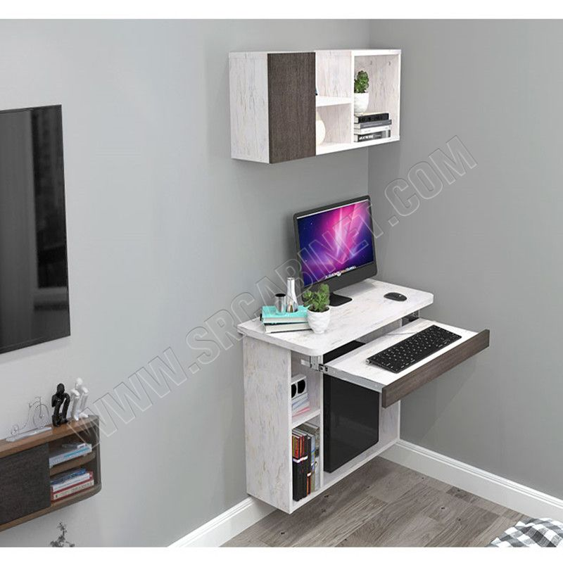wall mounted computer table kids desk with bookshelf