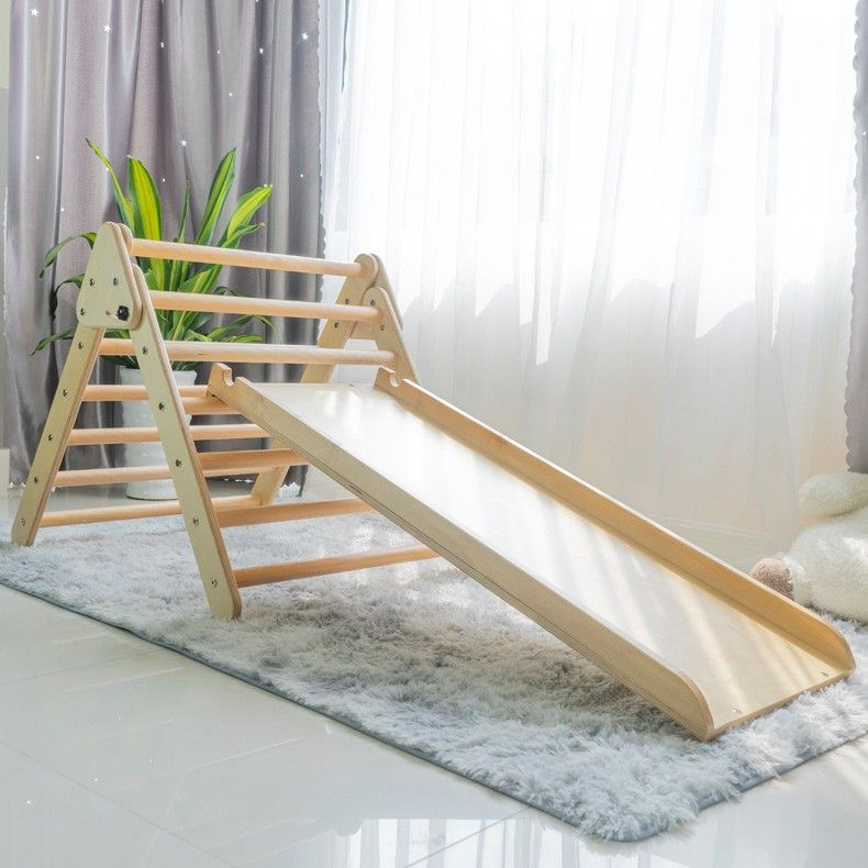 Kids sports indoor wooden climbing frame Triangle and ramp for kids