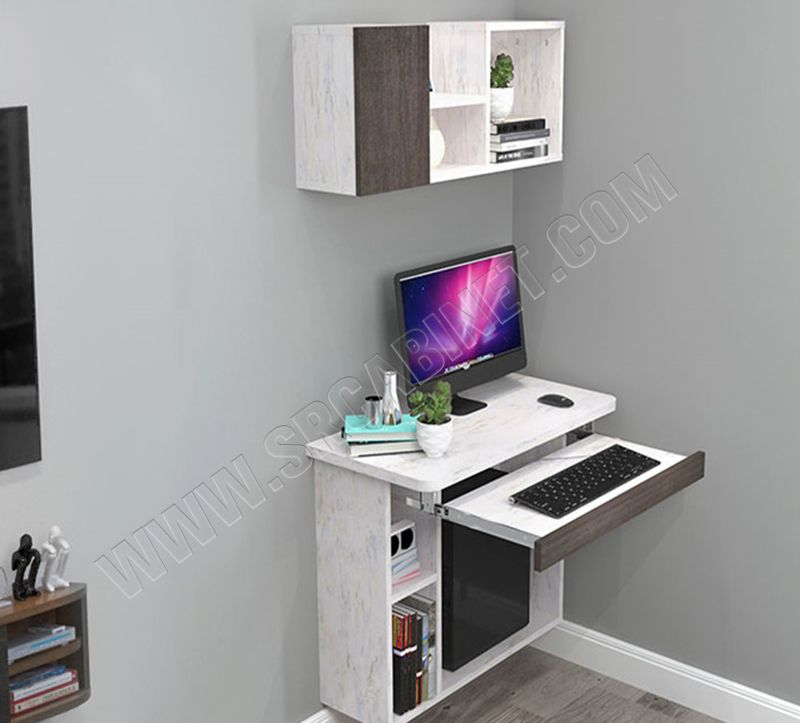 wall mounted computer table kids desk with bookshelf