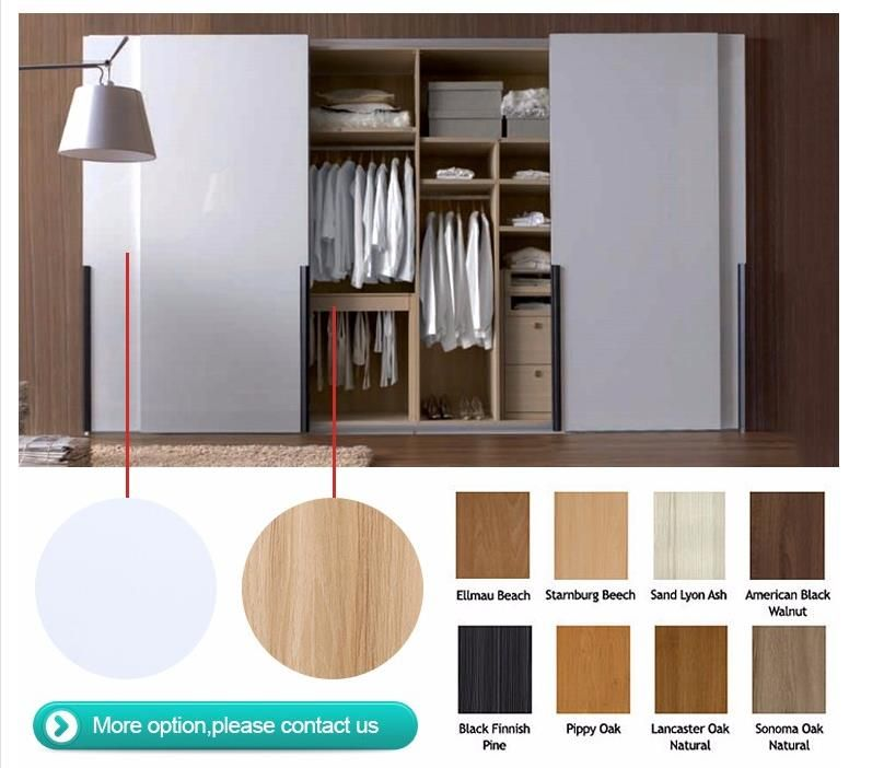 New Design Sliding Door Modern Wooden Grey Wardrobe
