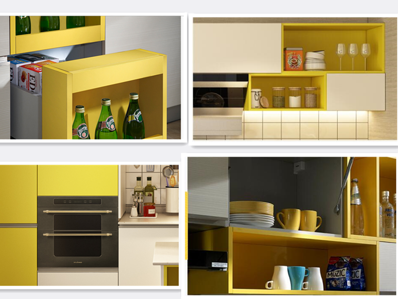 Project high gloss PVC thermal foil modular kitchen cabinet