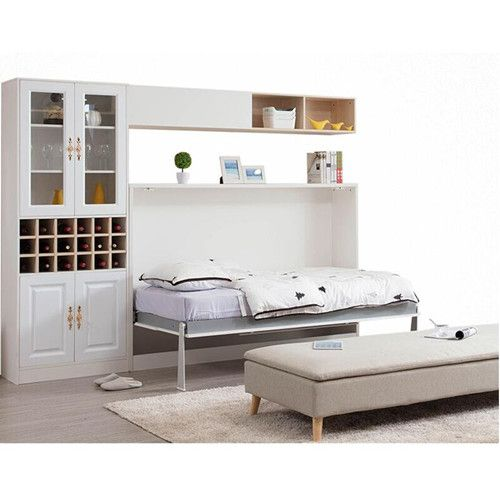 Queen size horizontal save space smart furniture bedroom sets pull down wall bed murphy beds with sofa