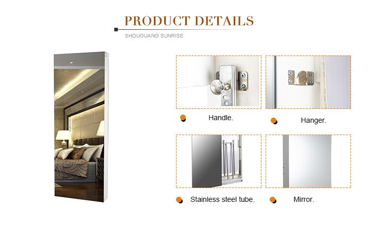 Wooden wall mounted folding ironing board with sliding door