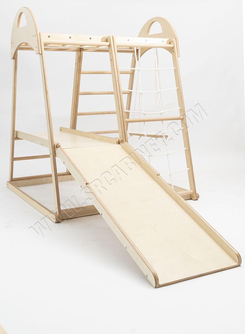 Wooden swing Kids indoor slide wood baby climbing frame swing combination