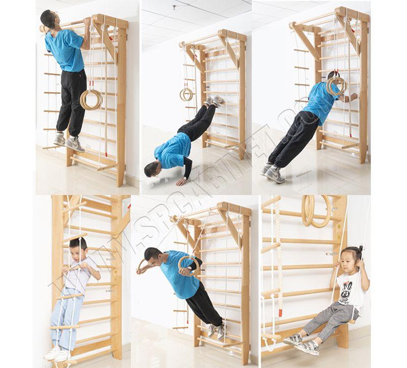 Wall Bars Wood Stall Bar Swedish Ladder Home Gym Gymnastic Climbing